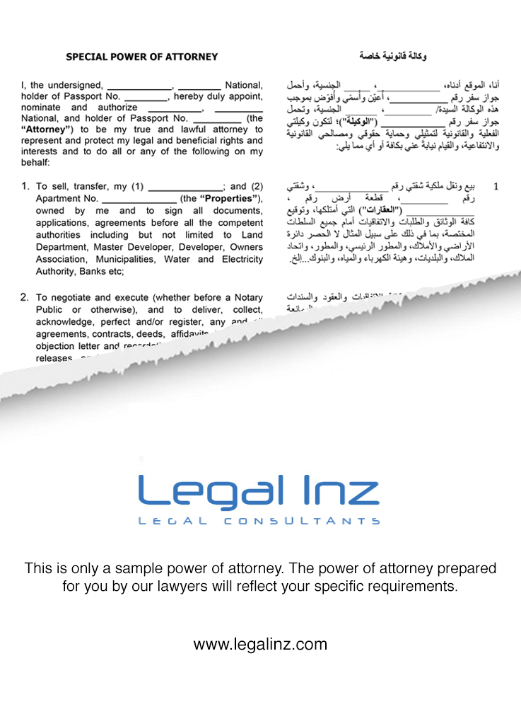 Power of Attorney – Sample 1