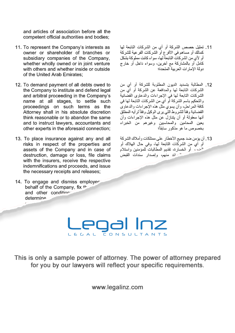 Company Power of Attorney Sample 4