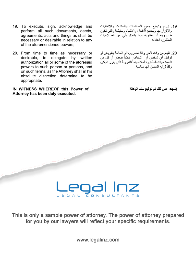 Company Power of Attorney Sample 6