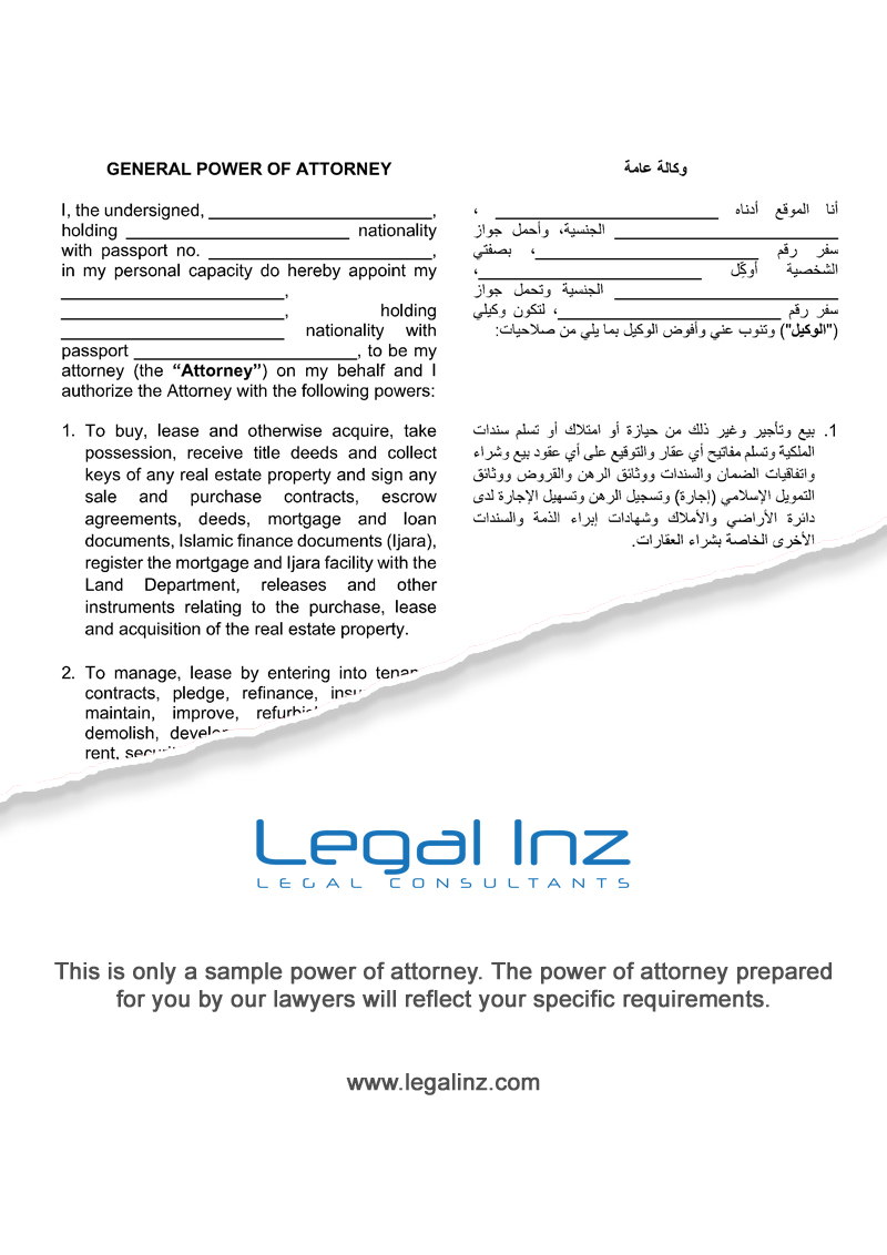 General Power of Attorney Sample 1