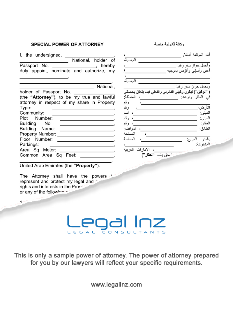 Property Power of Attorney Sample 1