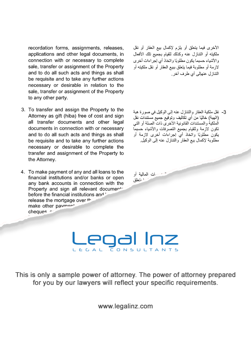 Property Power of Attorney Sample 2