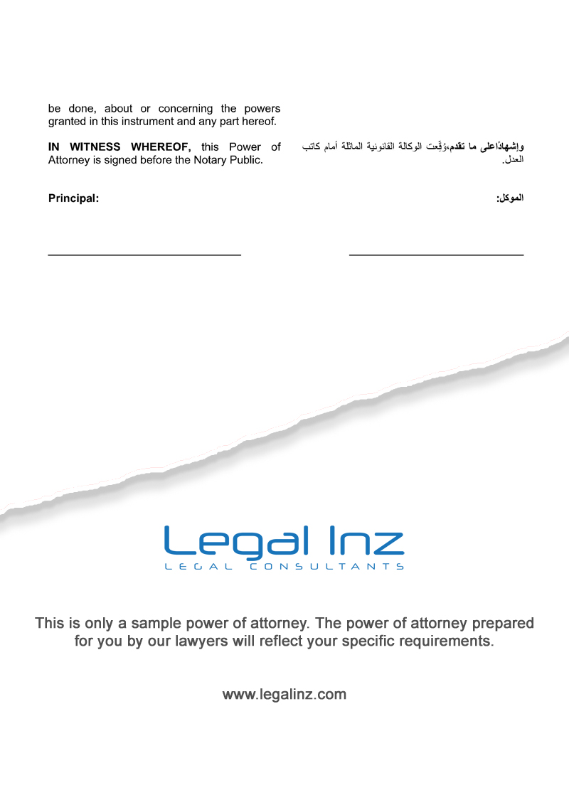 Property Power of Attorney Sample 3