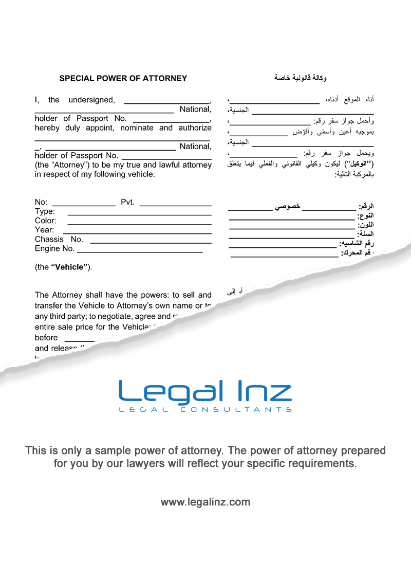 Vehicle Power of Attorney Sample 1