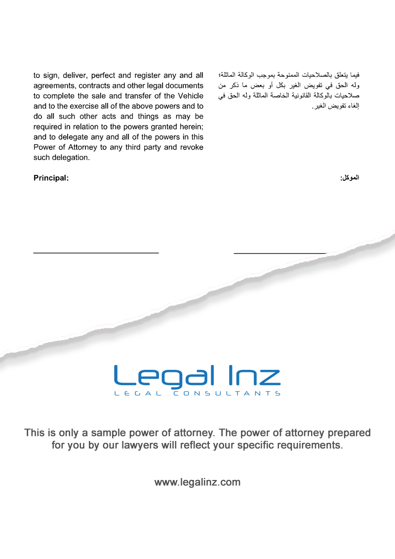 Vehicle Power of Attorney Sample 2